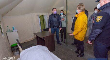 В Каменском на территории 7-й городской больницы установили новый палаточный пункт